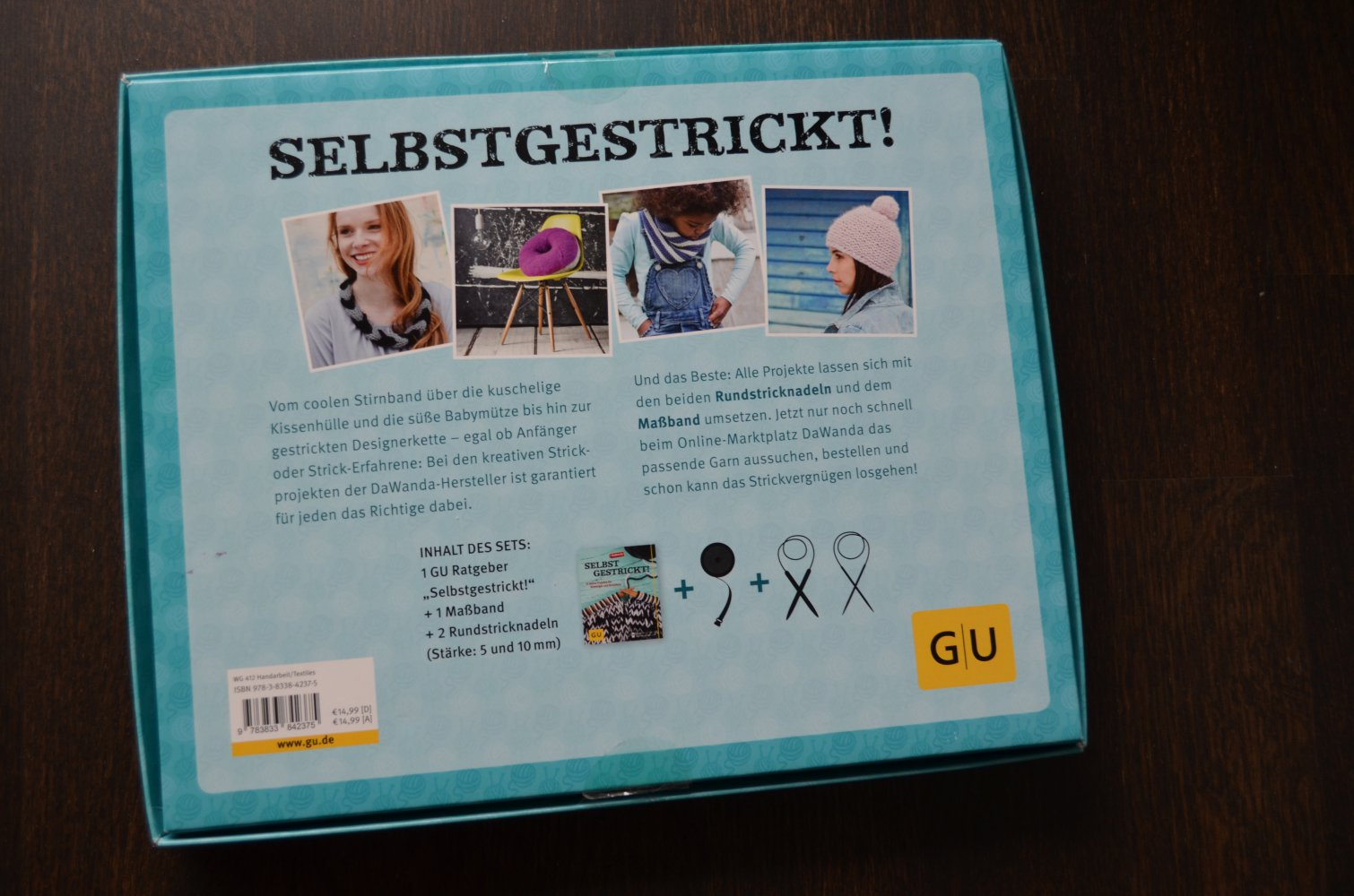 selbst gestrickt gu strickset buch mit stricknadeln und ma band. Black Bedroom Furniture Sets. Home Design Ideas