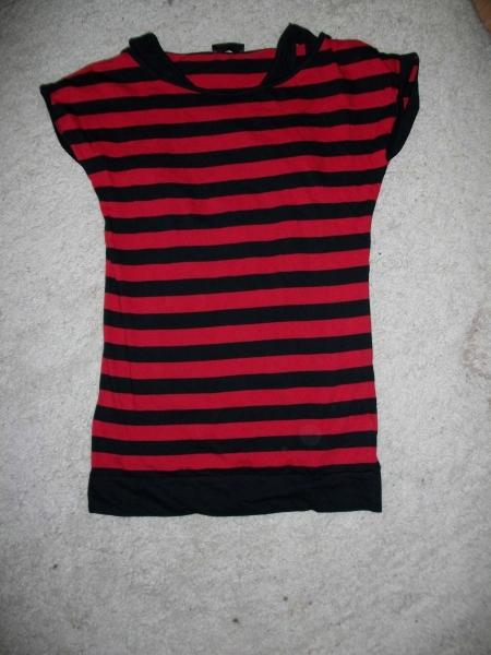 pimkie schwarz rot gestreiftes langes t shirt. Black Bedroom Furniture Sets. Home Design Ideas