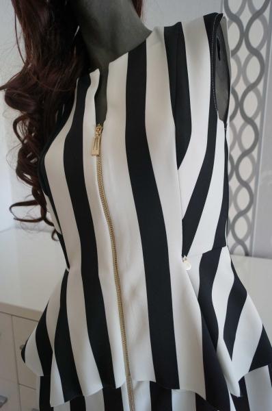 Prächtig Elegantes Schwarz Weiß Kleid gestreift Reißverschluss gold ausgez @VQ_48