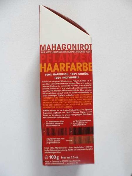 pflanzenhaarfarbe mahagoni rot mahagony red sante naturkosmetik. Black Bedroom Furniture Sets. Home Design Ideas