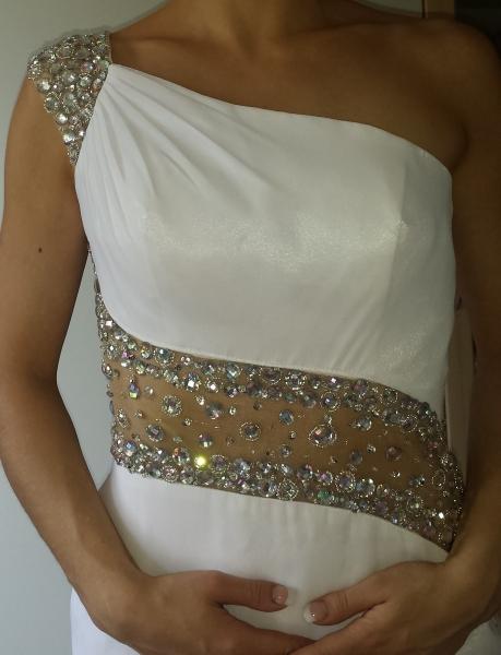 best service 8023d 8d8c0 Exklusives Kleid, weiß, rückenfrei, schulterfrei, Strass, Pailletten, Perlen