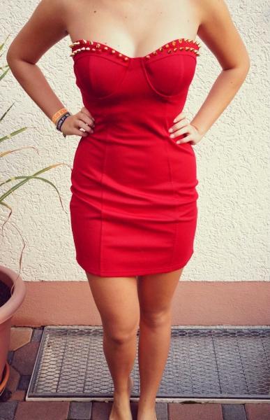 5c262b7daec3fe Kleid Abendkleid Cocktailkleid Rot Nieten urban blogger trend ...
