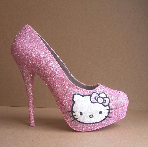 hello kitty high heel pumps damenschuhe neu plateau. Black Bedroom Furniture Sets. Home Design Ideas