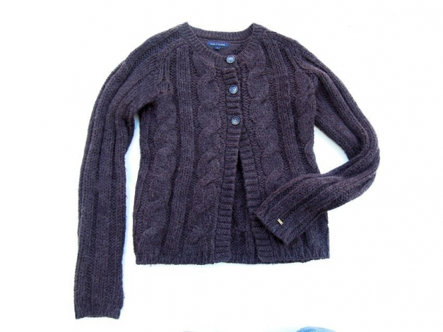 tommy hilfiger damen strickjacke cardigan pullover braun zopfmuster gr s. Black Bedroom Furniture Sets. Home Design Ideas