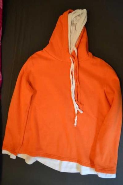 Orange gestreifter Hoodie Goa Ethno India Psytrance Party Reggae L 100% Baumwollte Bauchtasche Kapuze