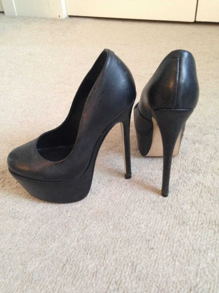 8f6e047ffd4eec ... OFFICE LONDON Plateau High Heels Pumps 15cm Absatz schwarz 35