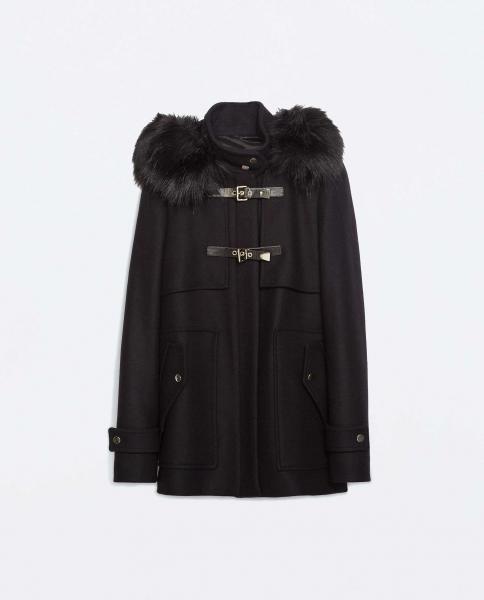 zara blogger dufflecoat woll jacke fell neu ausverkauft gr s. Black Bedroom Furniture Sets. Home Design Ideas