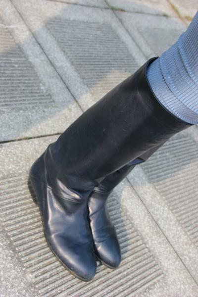 Andrea Puccini original Vintage slouch boots stiefel dunkelblau Navy 39 39,5 leder overknee flach