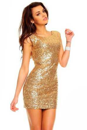 Goldenes paillettenkleid ruckenfrei