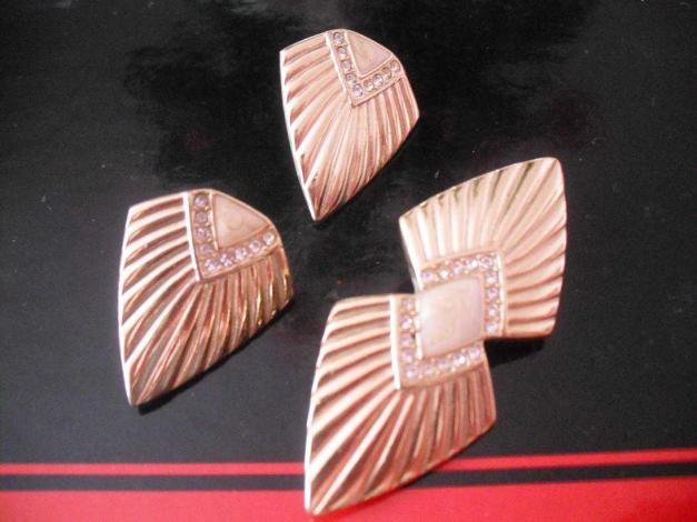 Vintage Retro Avon Schmuck Set Gold Brosche und Ohrringe