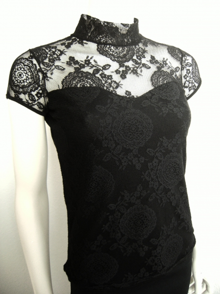 kurzarm shirt spitze stehkragen s m schwarz gothic victorian lolita. Black Bedroom Furniture Sets. Home Design Ideas