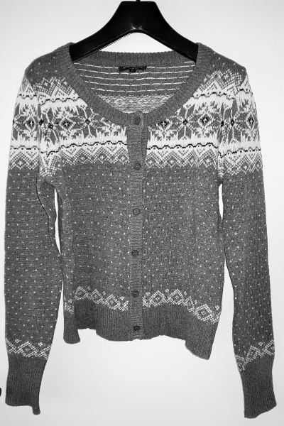 Cardigan Strickjacke Wolle Norweger Grau Schneekristall Gr. S3638 NEU