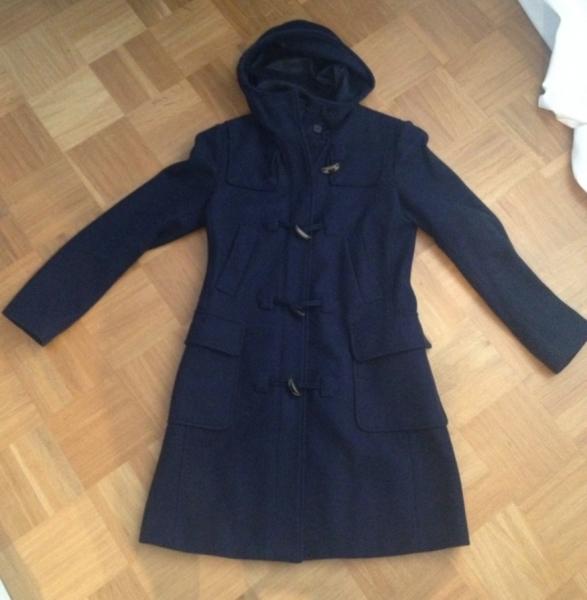 neu benetton dufflecoat mantel dunkelblau 36 38. Black Bedroom Furniture Sets. Home Design Ideas