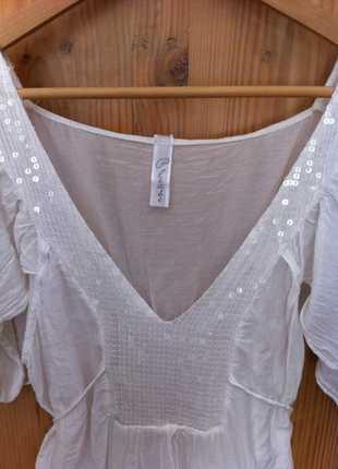 46b2a76e6dd882 ... Tunika Weiße Bluse von Please, leicht transparent, Pailletten, Tunika .