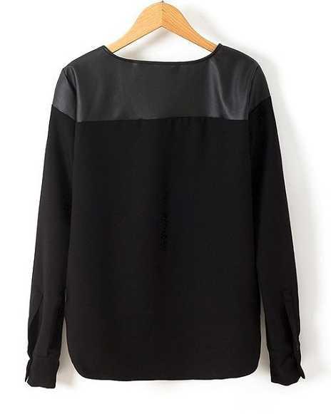... übertragen.neu schwarze Bluse mit leder schultern cut-out vokuhila  chiffon shirt oberteil lang ... 007fcedd44