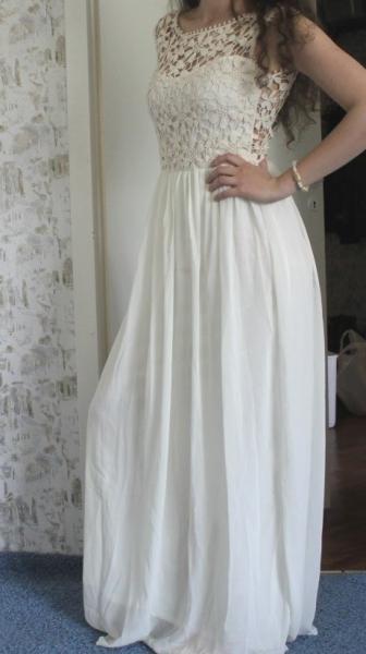 keine - maxikleid langes kleid in weiß mit häkel gr.s 36