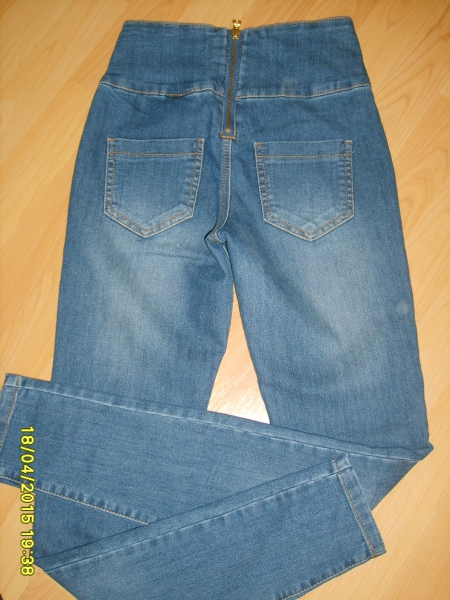 high waist jeans mit rei verschluss hinten. Black Bedroom Furniture Sets. Home Design Ideas