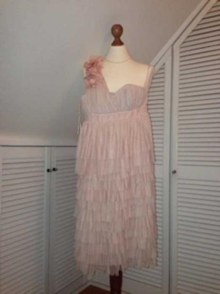 Kleid Ballkleid Cocktailkleid rosa puder H&M one shoulder ...