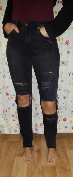 high waist hose destroyed jeans used l cher schwarz. Black Bedroom Furniture Sets. Home Design Ideas