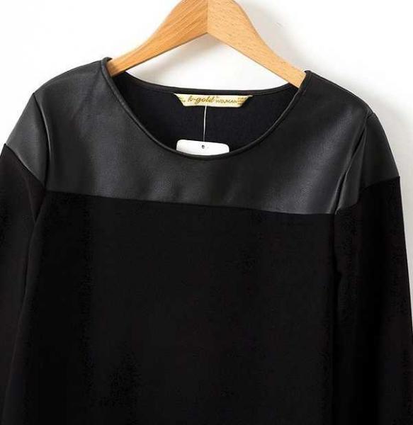 übertragen.neu schwarze Bluse mit leder schultern cut-out vokuhila chiffon  shirt oberteil lang ... b1511fc9e2