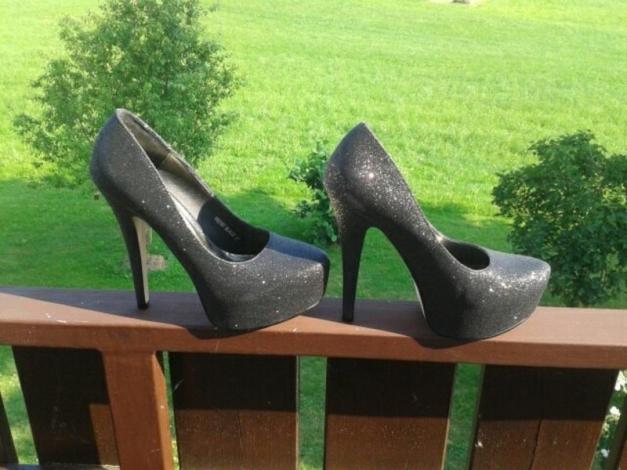 jumex schwarze glitzer high heels. Black Bedroom Furniture Sets. Home Design Ideas