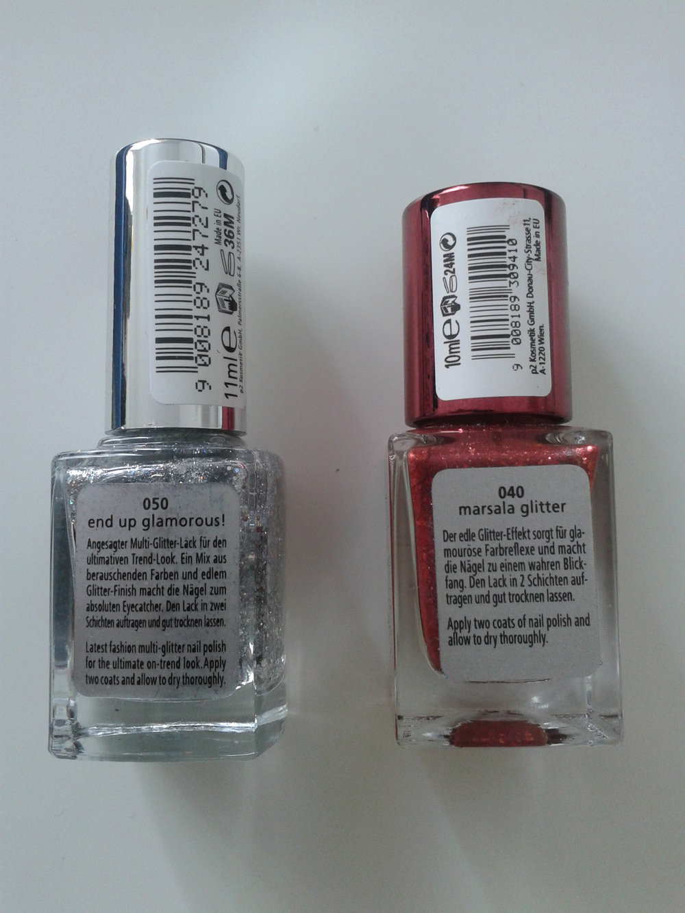 Glitzer Nagellack rot & silber P2 Color Trend polish No. 040 marsala ...