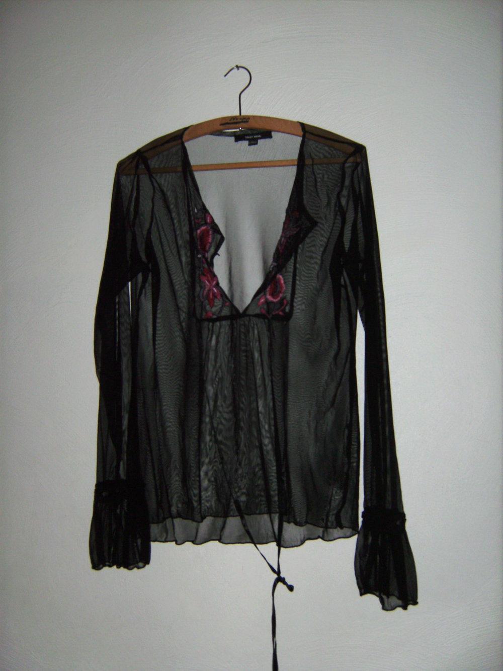 amisu transparente tunika schwarz gr 40 42 berzieher sexy langarm goa hippie look. Black Bedroom Furniture Sets. Home Design Ideas
