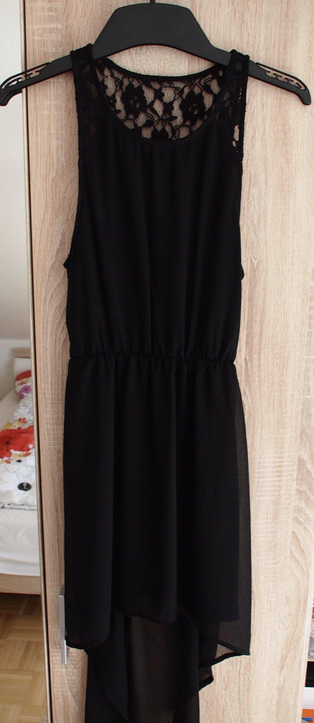 h&m abendkleid kleid schwarz spitze chiffon vokuhila s 38