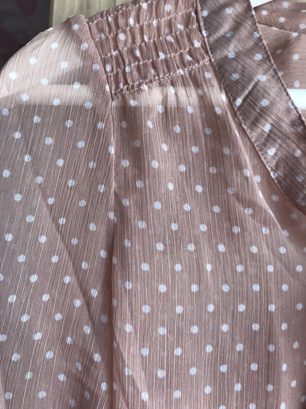 ... transparent Rosa Only Bluse mit weißen Punkten und einer Schleife in  Größe 34, schluppenbluse, ... 30e1a2a582