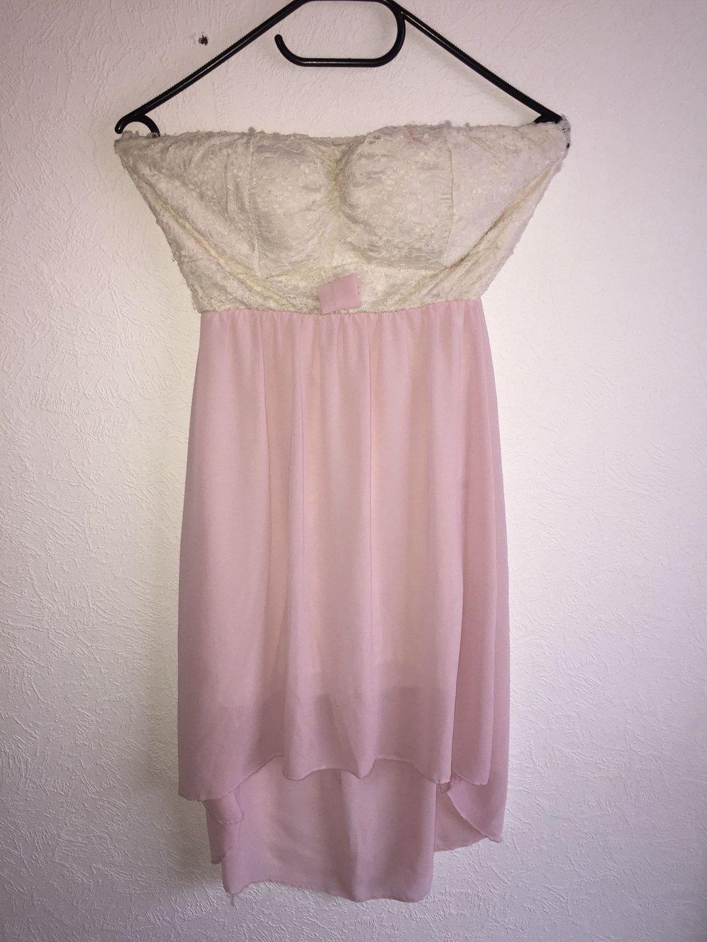hübsches rosa vokuhila kleid weiß spitze
