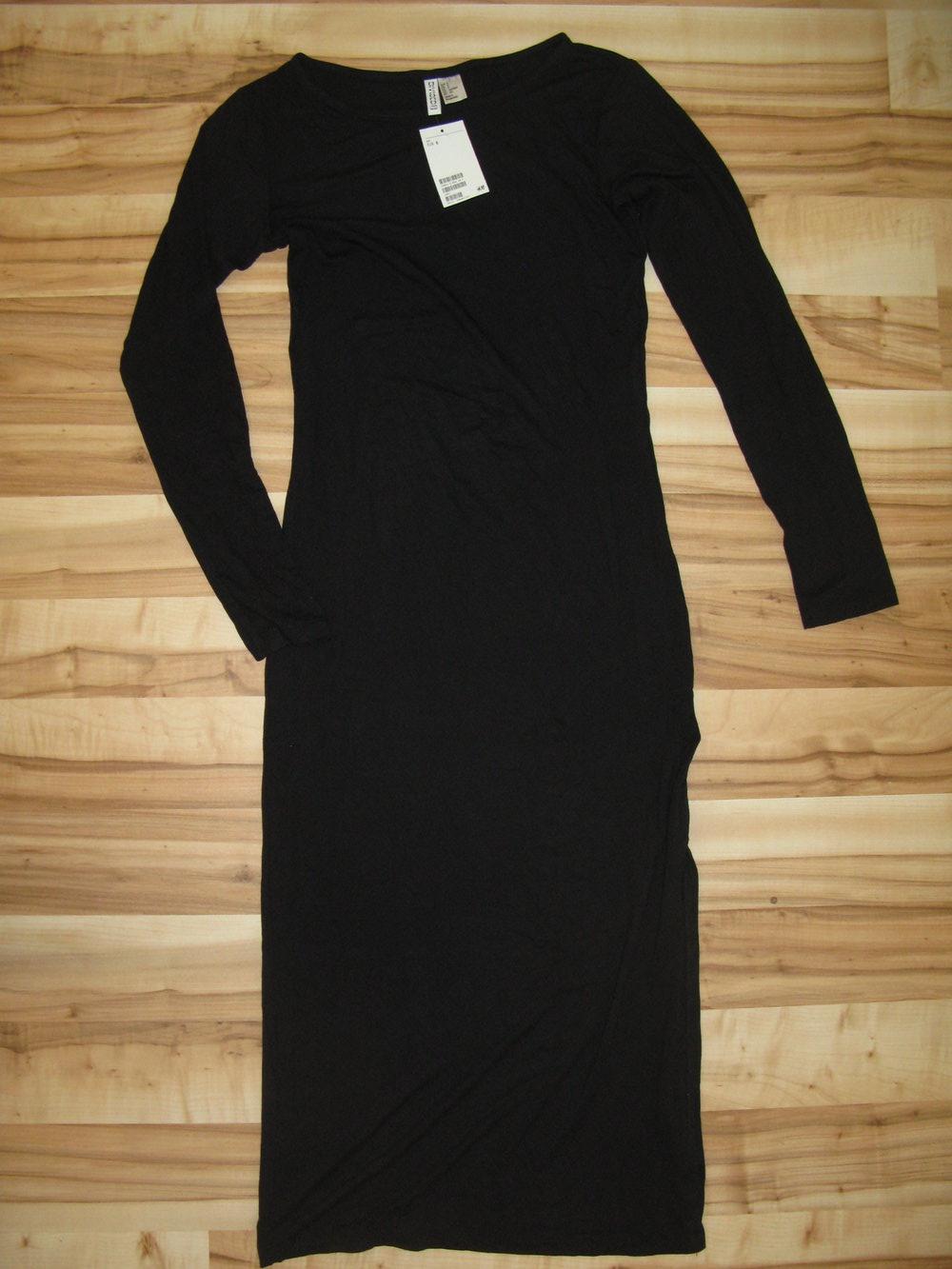 Neu! Langes, schlichtes Shirt-Kleid von H&M Divided mit seitlichem Schlitz,  schwarz, Gr. S