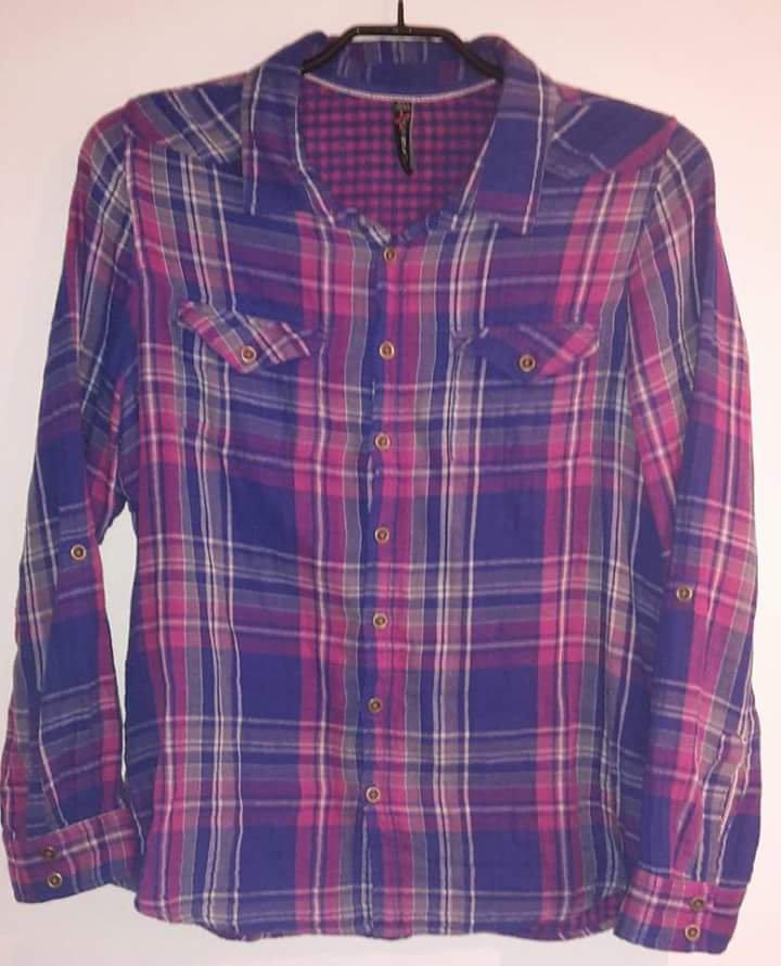 new yorker fishbone bluse hemd shirt gr l pink blau. Black Bedroom Furniture Sets. Home Design Ideas