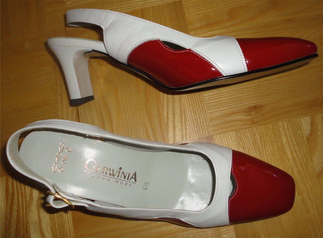 Lack Pumps von Gerwinia, Gr. 37,5, rot weiß.