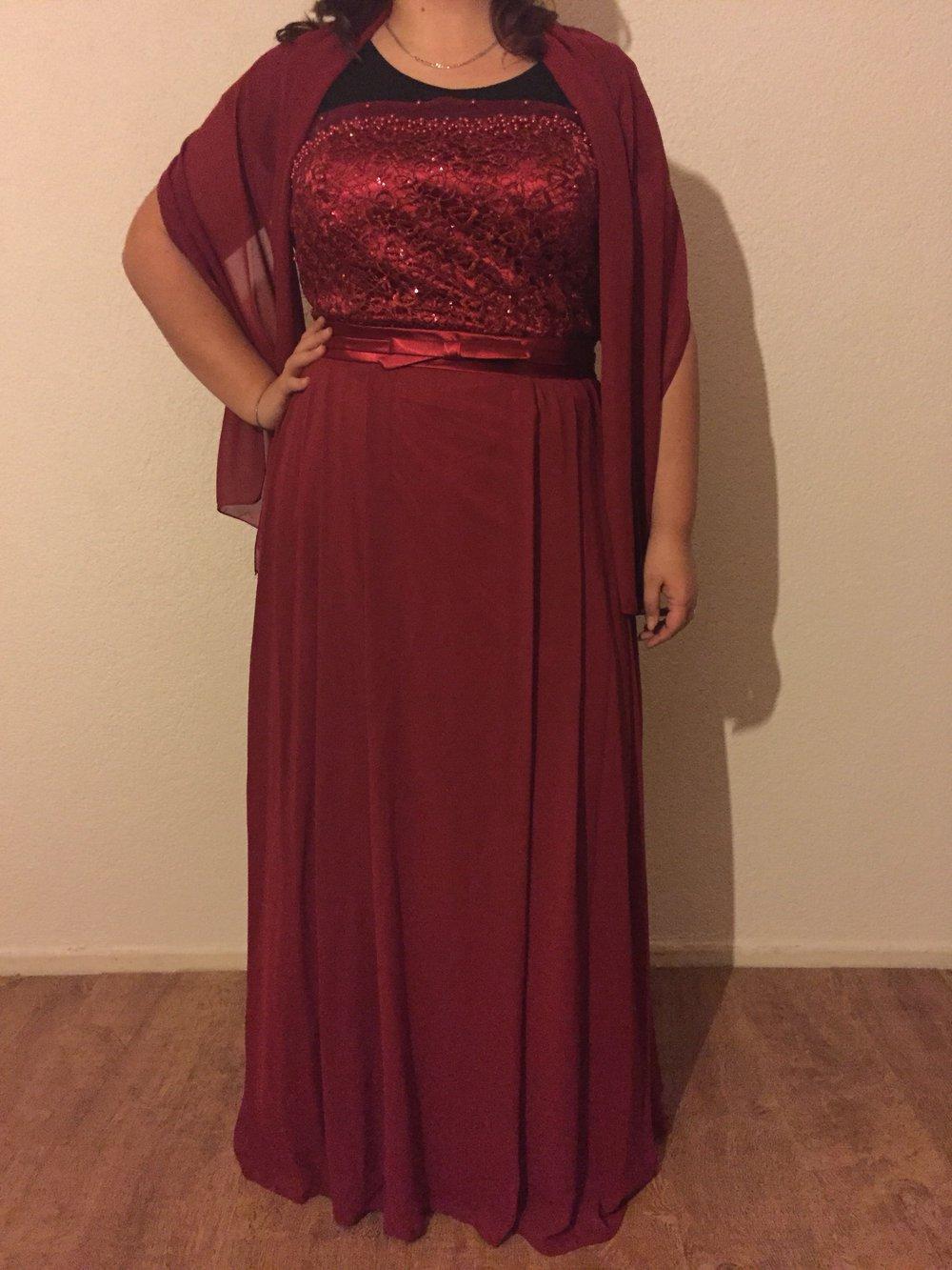 Juju & christin abendkleid gr 19-19 Schnürbar neu weinrot mit Stola und  Silikonträgern abiye elbise