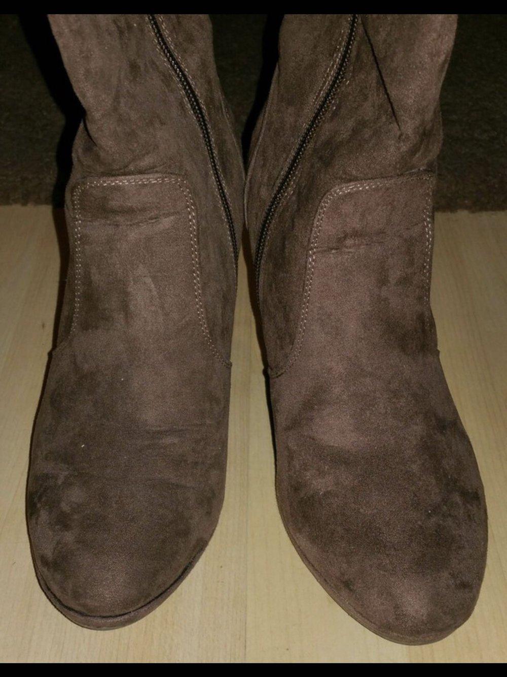 sale professionelles Design Rabatt bis zu 60% Wie neu braune sexy Wildleder Stiefel Deichmann 38 Stilettos High Heels  bequem weich Reißverschluss