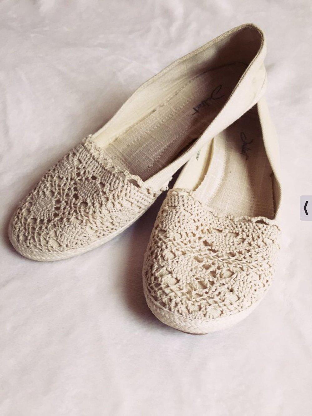 7f1415dd4787df Weiße Schuhe im Häkellook Ballerinas mit Spitze    Kleiderkorb.de