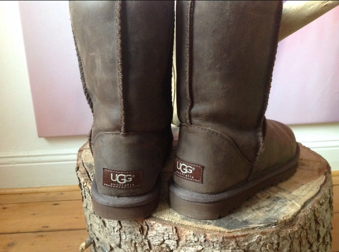 ugg australia ugg boots gr 37 lammfellboots braun leder. Black Bedroom Furniture Sets. Home Design Ideas