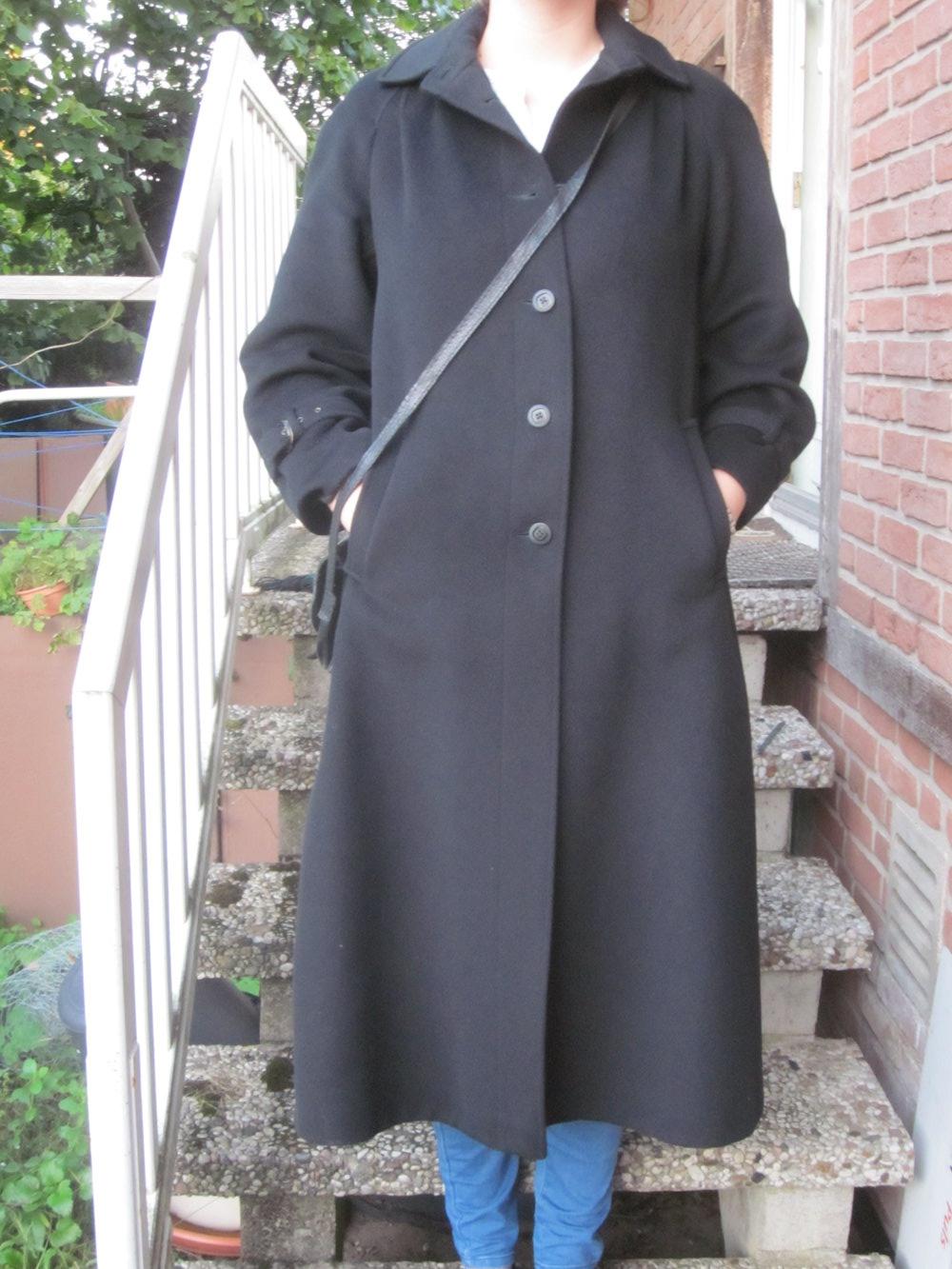 True vintage langer schwarzer vintage wollmantel besonders lang gr 42 jacke - Schwarzer langer mantel ...