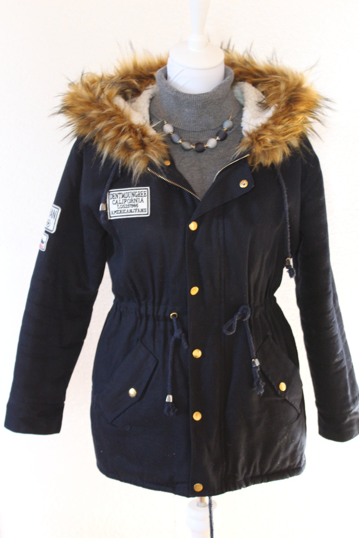 warmer wintermantel mit pelzkapuze gr 36 38