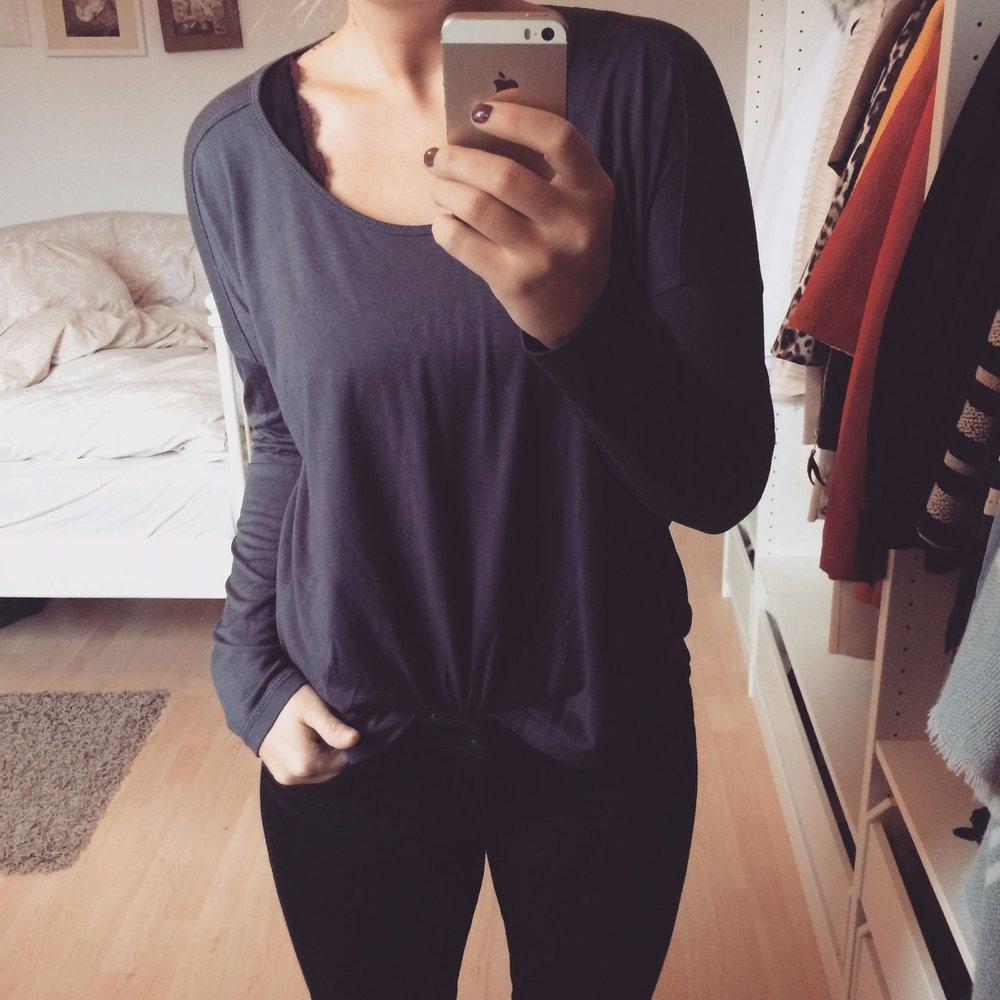 oversize shirt gr m dunkelgrau amisu basic damen langarmshirt. Black Bedroom Furniture Sets. Home Design Ideas