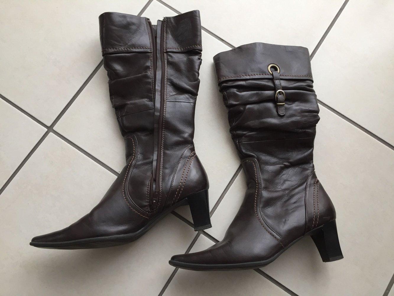 95a942e4cecef4 ... Schicke Stiefel dunkelbraun Vintage Schuhe Stiefel mit Reißverschluss 38  .