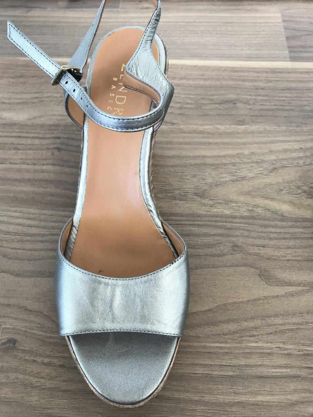40 Silber Sandaletten Keilabsatz Leder Neu Damen eBoWdCQrx