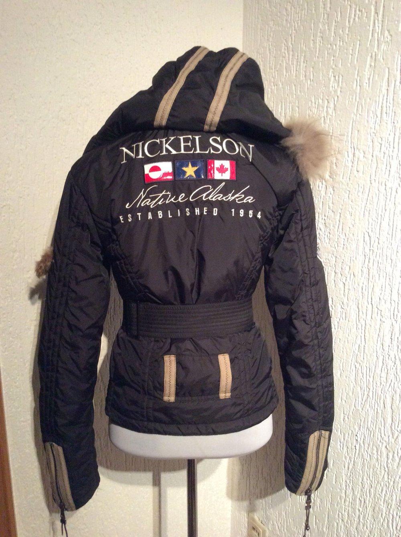 Nickelson Jacke Damenjacke Winterjacke neu XS schwarz mit Swarovski Stein im Gürtel
