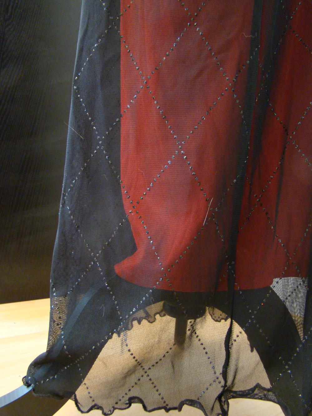 Bodenlanger Rock, Spitze, Glitzer, edel rot schwarz, Bordeaurot 34   36 XS  ... fb3960b274