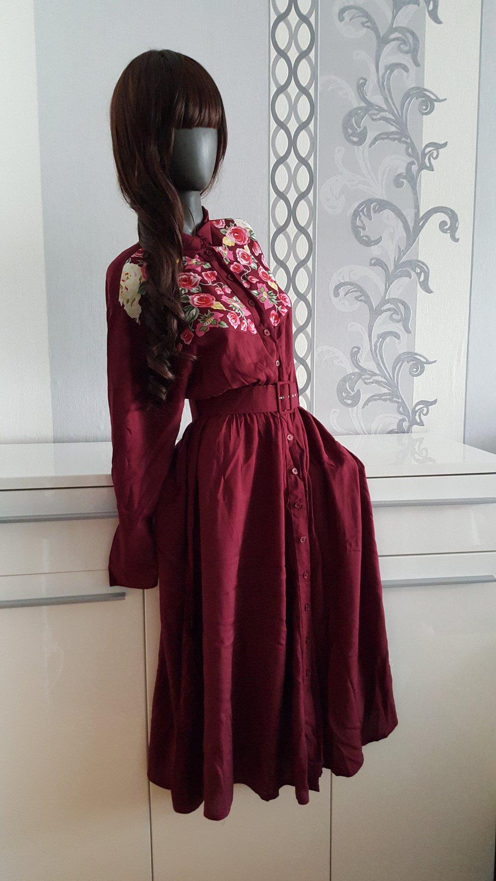 Gürtel Kleid 40 Vintage Nostalgie True L M Langes Weinrot Mit Blumen Rot zqpGMSUV