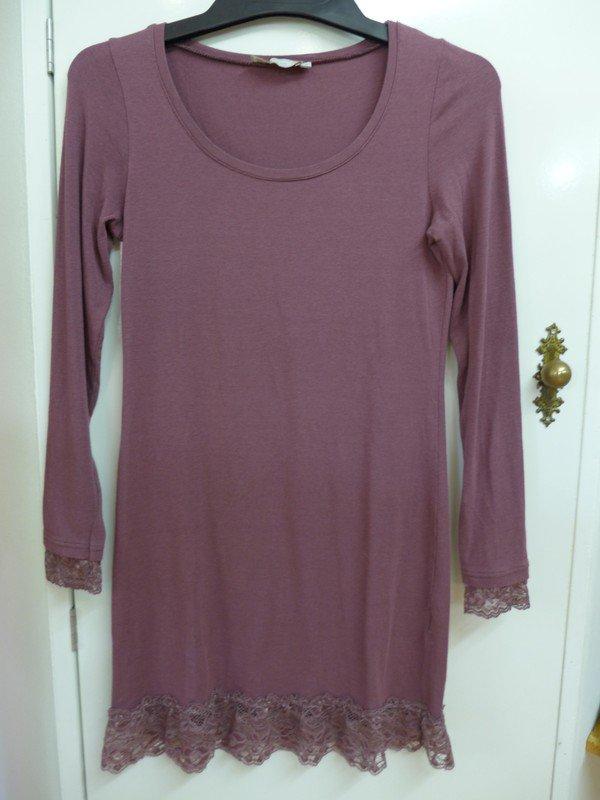 2 Teiler Gr 42 Longtop Hängerchen mit Taschen Shirt lila weiß Neu