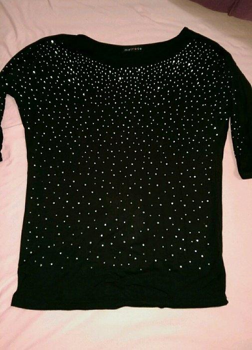 melrose schwarzes shirt mit strasssteinen. Black Bedroom Furniture Sets. Home Design Ideas