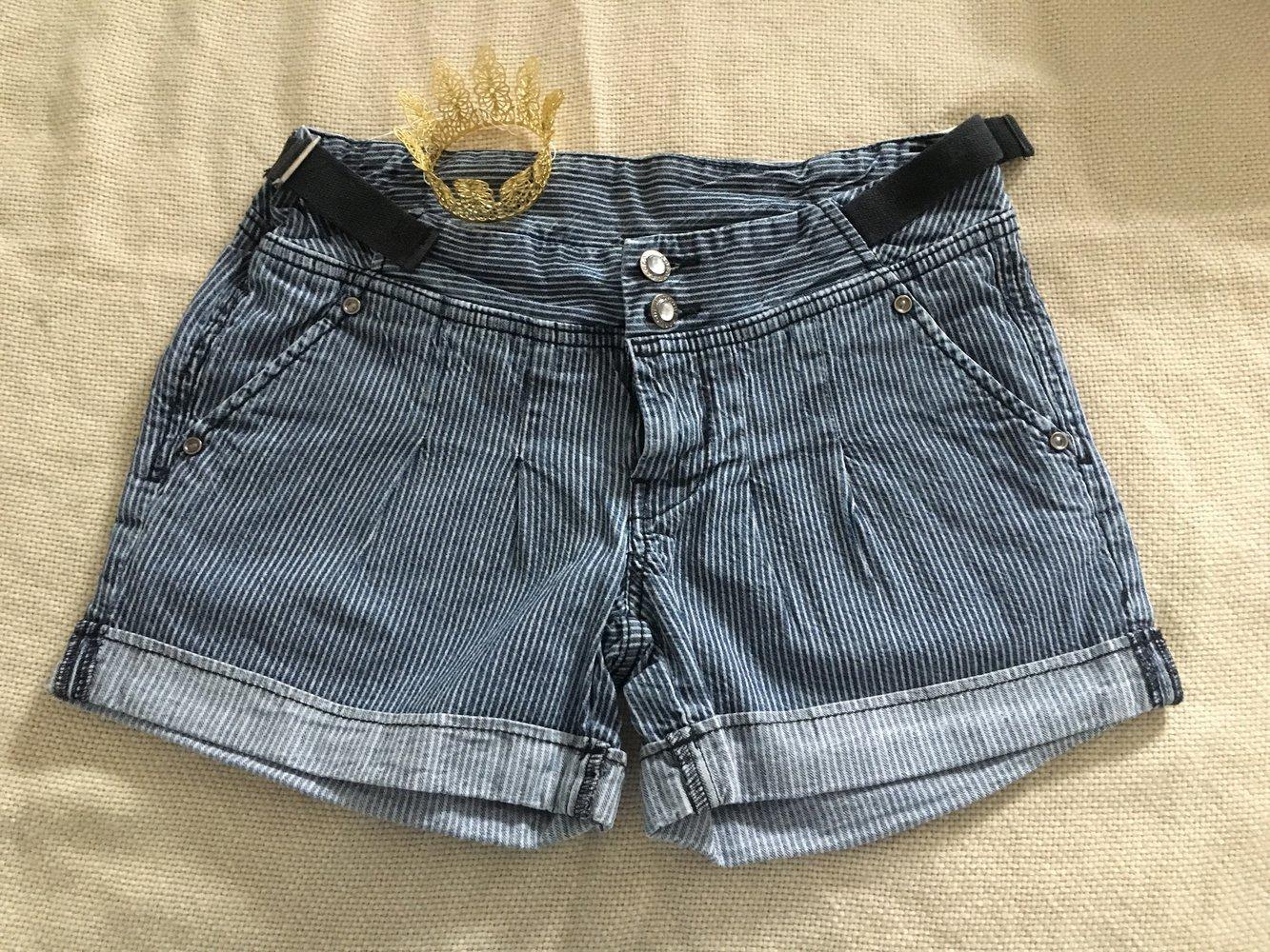... Schicke blau grau gestreifte Shorts, Hotpants, Streifen, kurze Hose . b3b6c09ede