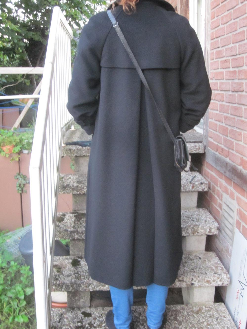 True vintage langer schwarzer vintage wollmantel for Schwarzer langer mantel