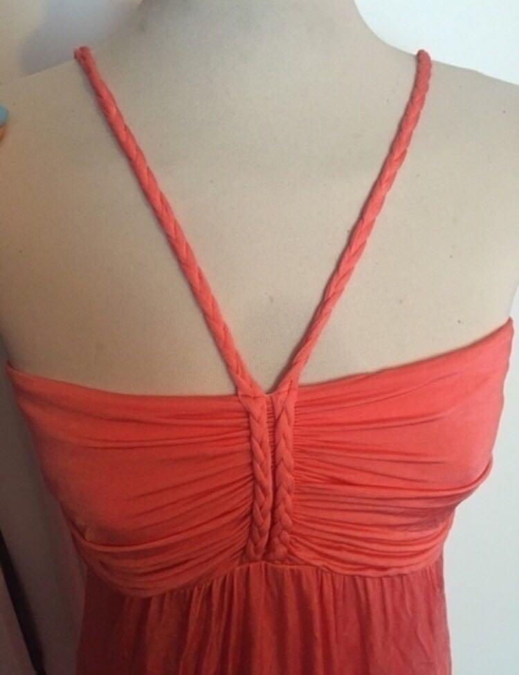 Mango korall langes Kleid Hochzeit Abi Abendkleid Gr. L ... c33ed4c493